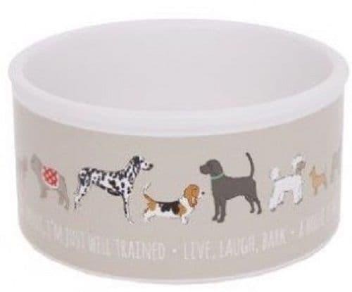 White/Cream Dog Print Small Ceramic Feeding Water Dog Food Bowl Dish 13x13x6.5cm