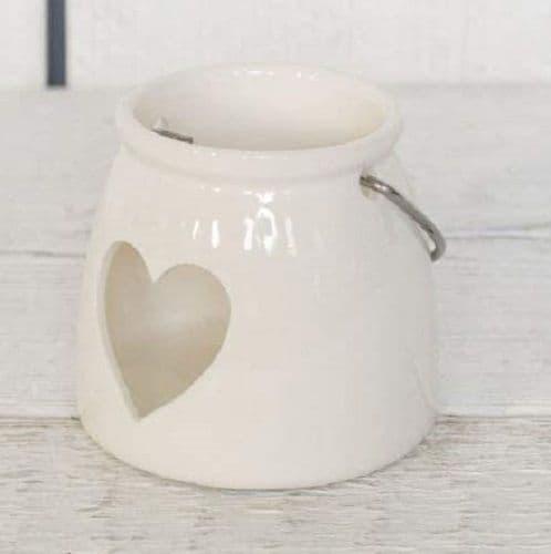 White Porcelain Heart Cut Out Lantern Candle Tea Light Holder Metal Handle 8x9cm