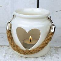 White Porcelain Heart Lantern Candle Tea Light Holder Rope Handle 10x8.5cm