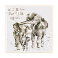 Wrendale Design A Little Love Family Elephants Blank Inside Greetings Card 12x12cm