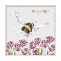 Wrendale Design Beeyoutiful bee and flower Blank Inside Greetings Card 12x12cm