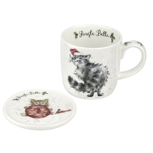 Wrendale Design China Jingle Belle Cats Christmas Tea/Coffee Boxed Mug & Coaster