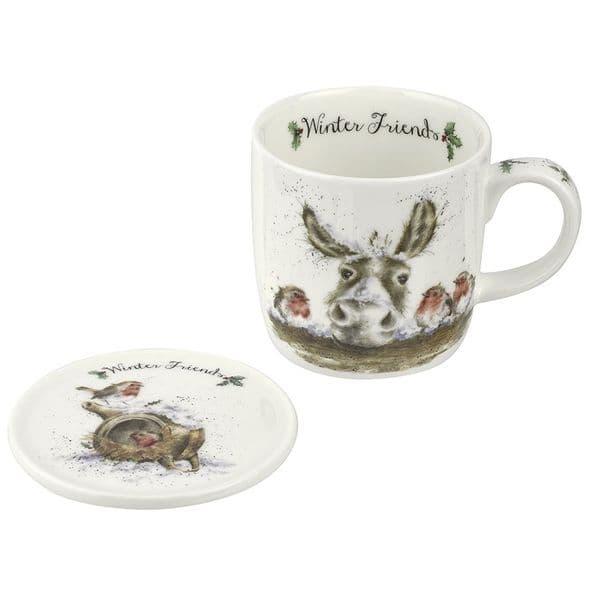 Wrendale Design China Winter Friends Christmas Tea/Coffee Boxed Mug & Coaster