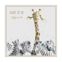 Wrendale Design Dare to be Different Giraffe Blank Inside Greetings Card 12x12cm