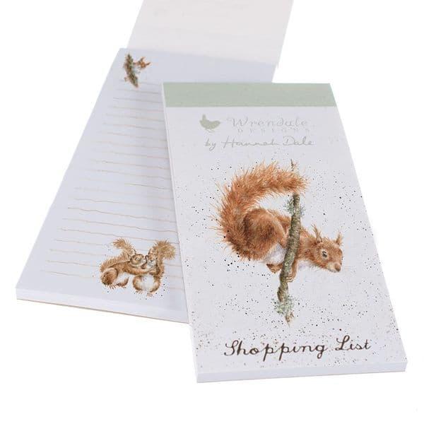 Wrendale Design Illustrated Acrobat Squirrel Magnetic Shopping List Pad 21x10cm