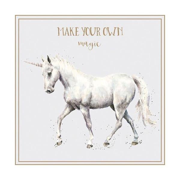 Wrendale Design Make your Own Magic Unicorn Blank Inside Greetings Card 12x12cm