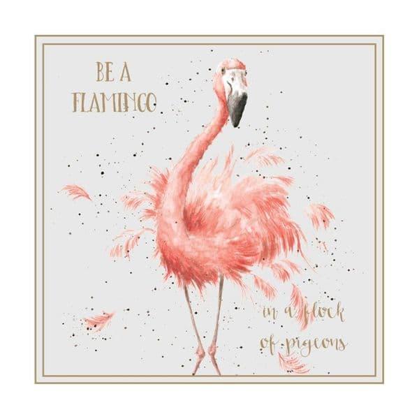 Wrendale Designs Be a Flamingo in Flock Pigeons Blank Inside Greetings Card 12x12cm