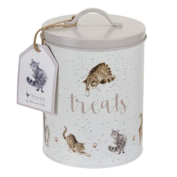 Wrendale Designs Cat Treats Print Biscuit Food Treat Storage Tin & Lid 17.5x14cm