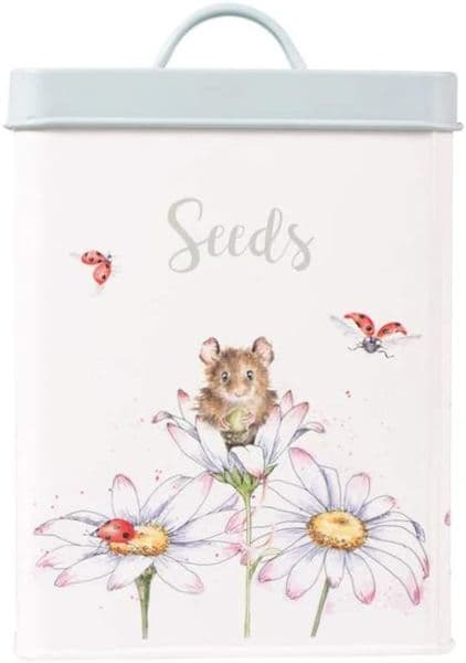 Wrendale Designs Country Gardeners Mouse and Daisy Seeds Storage Tin 14x14x18cm