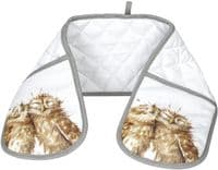 Wrendale Designs Country Set Owl Double Oven Gloves 100% Cotton 18x88cm