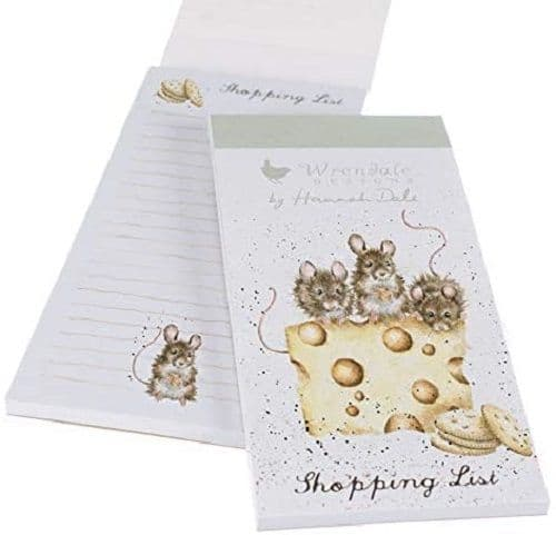 Wrendale Designs Illustrated Cheese & Cracker Magnetic Shopping List Pad 21x10cm