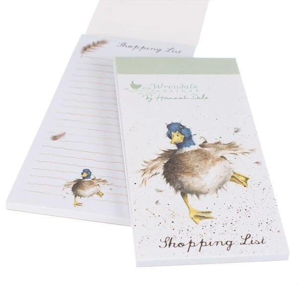Wrendale Designs Illustrated Country Duck Magnetic Shopping List Pad 21x10cm