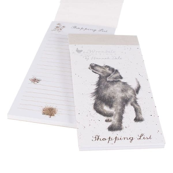 Wrendale Designs Illustrated Walkies Black Dog Magnetic Shopping List Pad 21x10cm