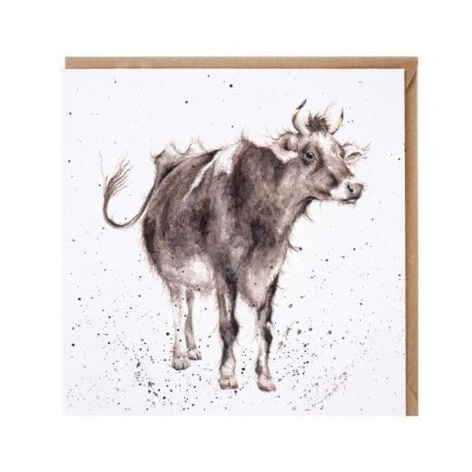 Wrendale Designs Lady Buttercup Cow Blank Inside Birthday Greetings Card 15x15cm