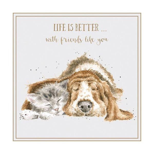 Wrendale Designs Life Better Friends Like You Blank Inside Greetings Card 12cm