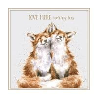 Wrendale Designs Love More Worry Less Foxes Blank Inside Greetings Card 12x12cm
