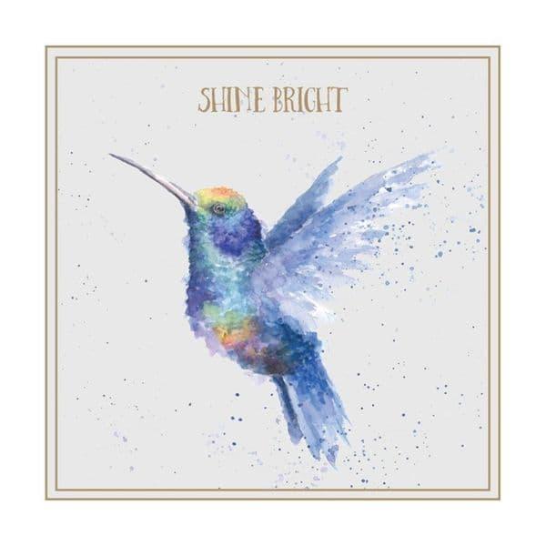 Wrendale Designs Shine Bright Hummingbird Blank Inside Greetings Card 12x12cm