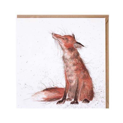 Wrendale Designs The Artful Poacher Fox  Blank Inside Greetings Card 15x15cm