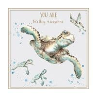Wrendale Designs Turtley Awesome Blank Inside Birthday Greetings Card 12x12cm