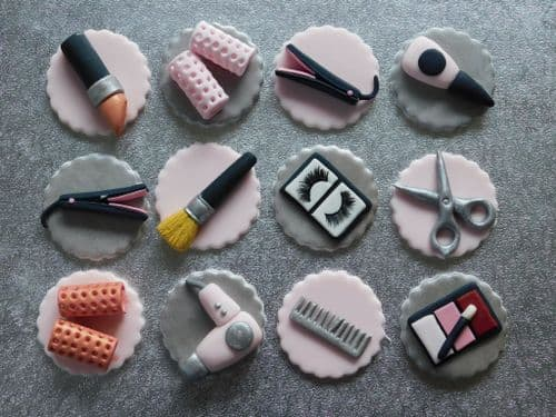 12  Hair & Beauty Cupcake Toppers