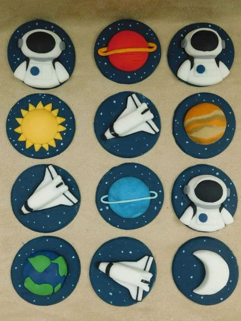 12  Space Theme Cupcake Toppers