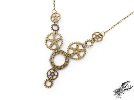 Antique Bronze Gear Necklace
