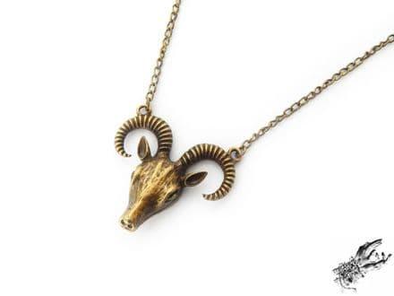 Antique Bronze Ram Skull Necklace