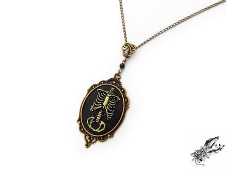 Antique Bronze Rib Cage Cameo Necklace