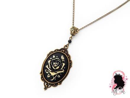 Antique Bronze Rose Cameo Necklace