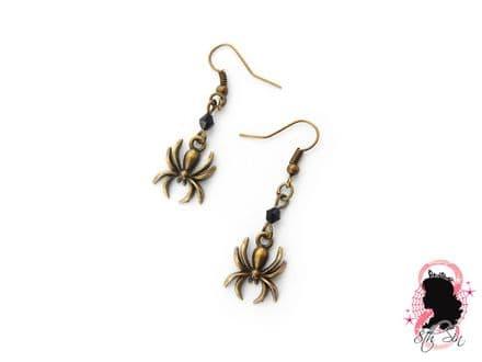 Antique Bronze Spider Earrings