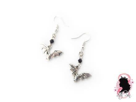 Antique Silver Bat Earrings