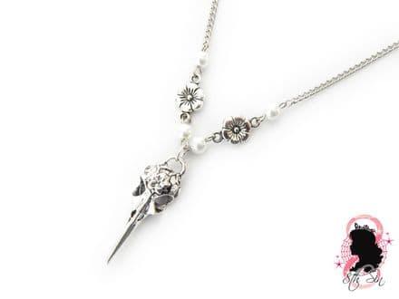 Antique Silver Bird Skull Necklace