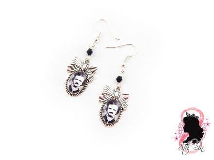 Antique Silver Edgar Allan Poe Earrings