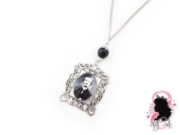 Antique Silver Edgar Allan Poe Necklace