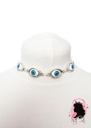 Antique Silver Evil Eyeball Choker Necklace