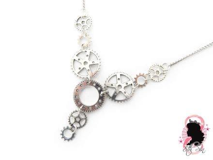 Antique Silver Gear Necklace