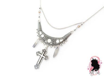 Antique Silver Luna Crux Necklace