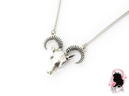 Antique Silver Ram Skull Necklace