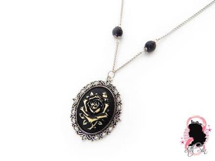 Antique Silver Rose Cameo Necklace