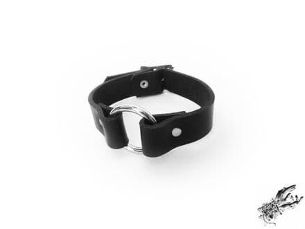 Black Leather O Ring Wristband