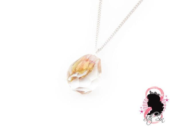 Bulgarian Pink and Yellow Rose in Jewel Necklace