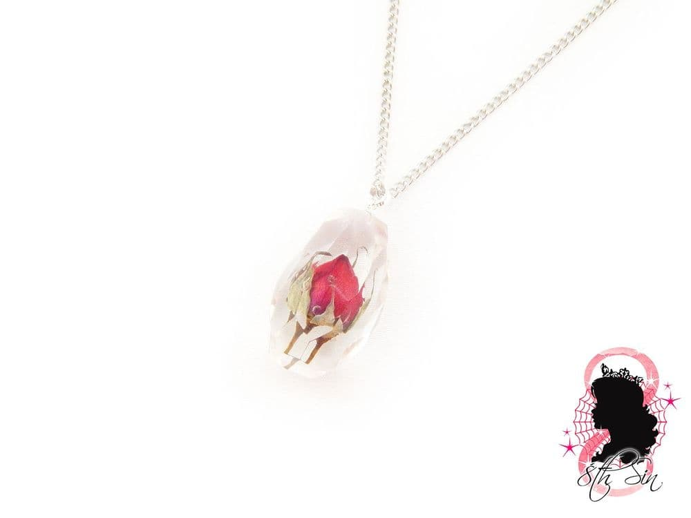 Bulgarian Red Rose in Jewel Necklace