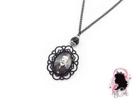 Gunmetal Black Edgar Allan Poe Necklace