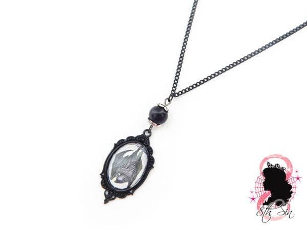 Gunmetal Black Vampire Bat Necklace