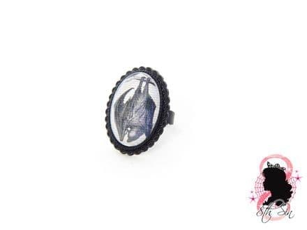 Gunmetal Black Vampire Bat Ring