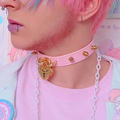 Pink and Gold Studded Heart Padlock Choker