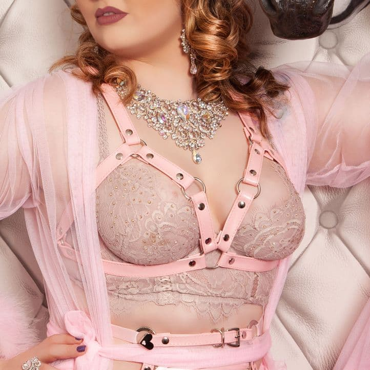 Pink Faux Leather Cage Harness