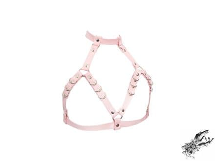 Pink Faux Leather D Ring Harness