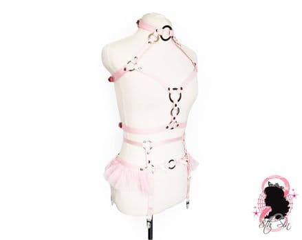Pink Faux Leather O Ring Harness Set