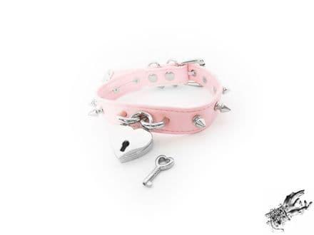 Pink Faux Leather Studded Heart Padlock Choker